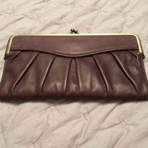 Vintage BCBG MAXAZRIA Leather Clutch Wallet Brown
